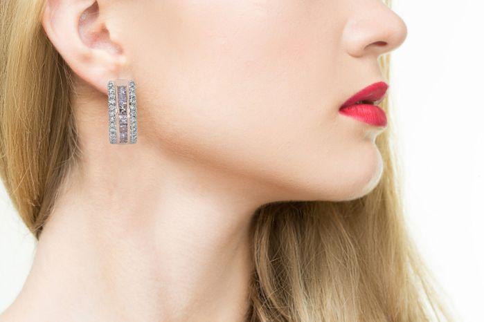 2.20ct Pink Diamonds Earrings 18K All Natural Princess Cut Rose Gold VS2-SI2