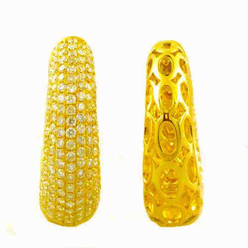 3.76ct Fancy Intense Yellow Diamonds Earrings 18K All Natural 18.5 Grams Y Gold