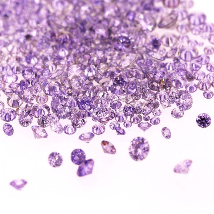 Natural Fancy Blue violet 0.002 ct to 0.08 ct Round cut Diamonds Parcel Melles