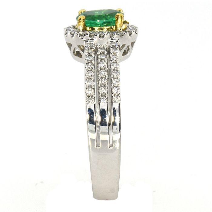 Real 0.82ct Natural Green Emerald Engagement Ring Oval 18K Gold G VS2