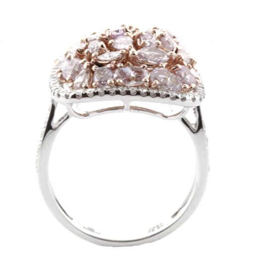 Real 3.00ct Natural Fancy Pink Diamonds Engagement Ring 18K Solid Gold 6G