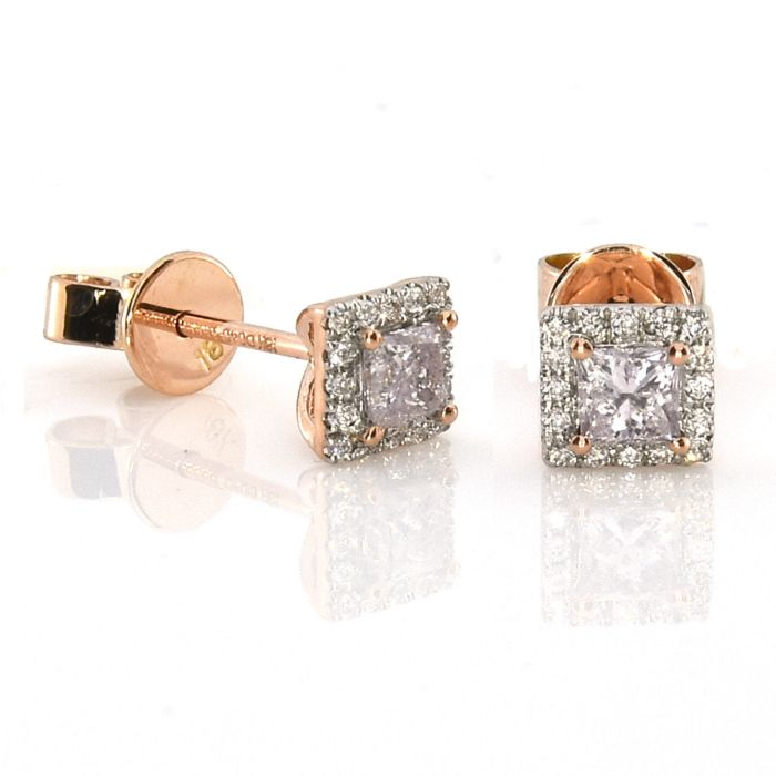 Real Fine 0.49ct Fancy Pink Diamonds Earrings 18K All Natural Stud Rose Gold