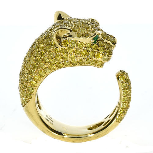 2.60ct Natural Fancy Yellow Diamonds Engagement Ring 18K Solid Gold 9G Tiger