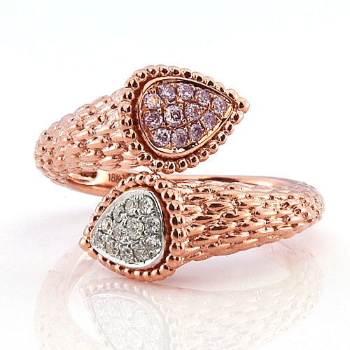 Real 0.32ct Natural Fancy Pink Diamonds Engagement Ring 18K Solid Gold 7G