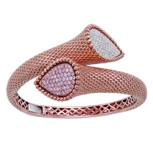 Real 2.09ct Natural Fancy Pink Diamonds Bracelet Bangle 18K Solid Gold 58Gr