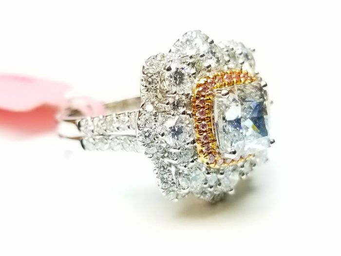 Real 4.05ct Natural Faint Light Blue & Pink Diamonds Engagement Ring GIA 18K