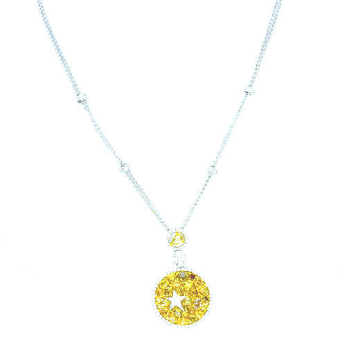 4.22ct Fancy Intense Yellow Diamonds Necklace 18K All Natural 9 Grams Real Gold