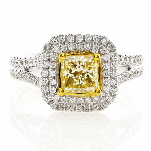 Real 1.51ct Natural Fancy Yellow Diamonds Engagement Ring 18K Solid Gold Radiant