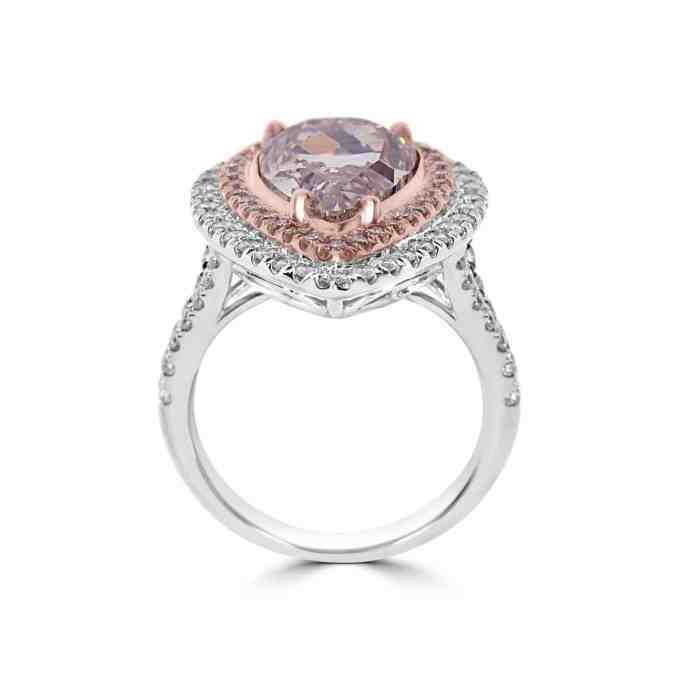GIA 6.04ct Natural Light Pink Diamond Engagement Ring 18K Pear