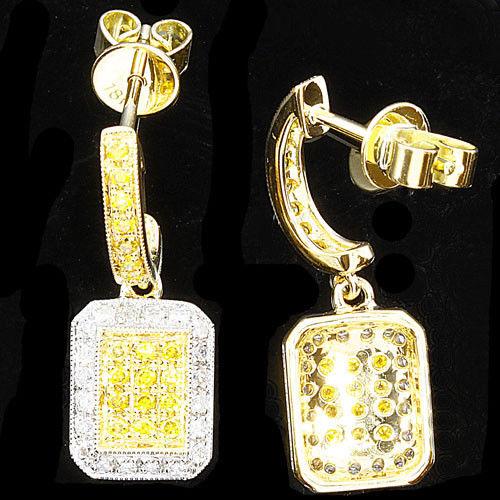 0.58ct Fancy Intense Yellow Diamonds Earrings 18K All Natural 4 Grams Y Gold