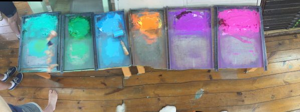 Trays of wonderful print ink in vibrant colors. Sorry about the quality of the pano photo