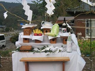 地鎮祭の祭壇アップ