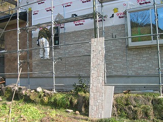 外壁貼り付け工事