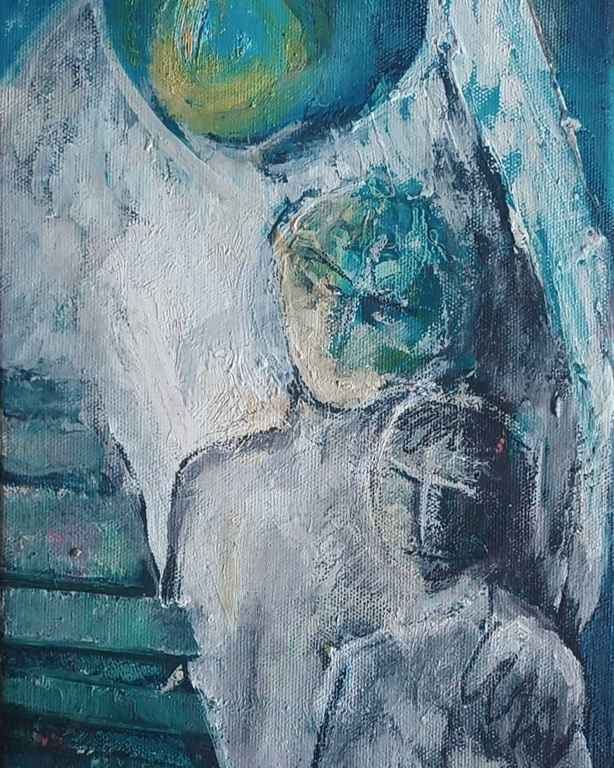 Anges sous la lune (détail) - Huile sur toile - 33x19 cm#lưuvăntâm  #peinture #peinturealhuile #artcontemporain  #peinturesurtoile #contemporarypainting #contemporaryart  #workoncanvas #oilpainting #oiloncanvas #artforsale