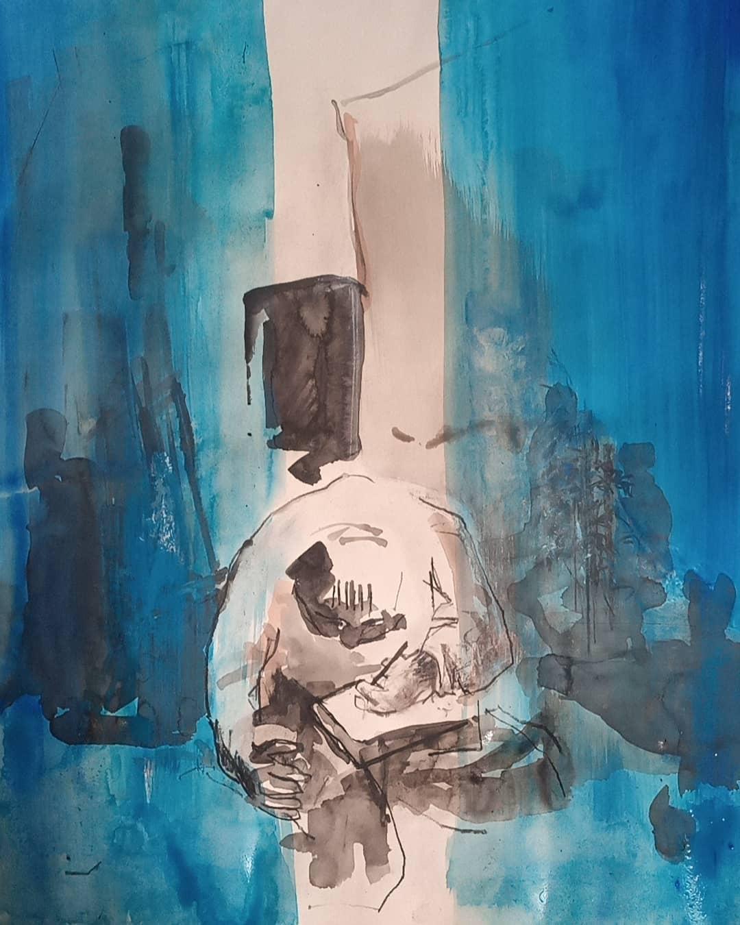 Manu dessinant - Encre de chine, fusain, mine noire et gouache sur papier - 65x50 cm - probablement 1997/2020 #lưuvăntâm  #peinture #artcontemporain  #peinturesurpapier #contemporarydrawing #contemporaryart  #workonpaper #artforsale