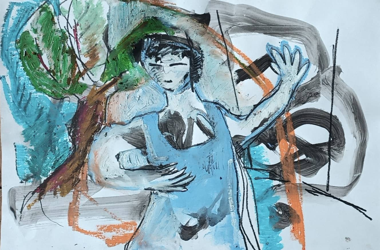 Danseuse au jardin - Gouache, pastel gras et mine noire sur papier - 21x29,7 cm - 2020#lưuvăntâm  #dessincontemporain  #artcontemporain  #papier #oeuvresurpapier #contemporarydrawing  #contemporaryart  #workonpaper #artforsale