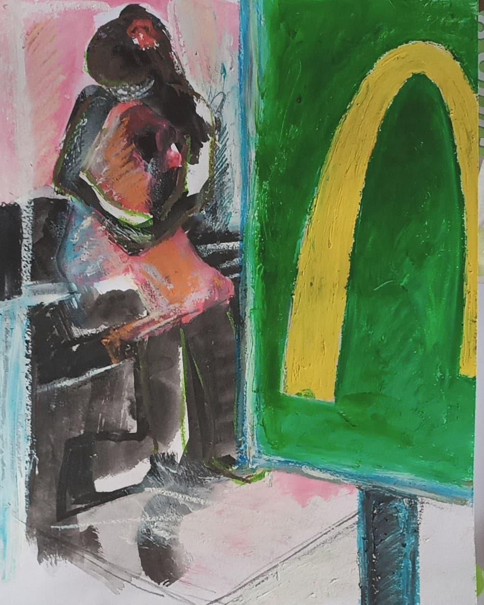 A l'arrêt de bus - Encres, pastels gras, huile et mine noire sur papier - 29,7x21cm -2020#lưuvăntâm  #dessincontemporain  #artcontemporain  #papier #oeuvresurpapier #contemporarydrawing  #contemporaryart  #workonpaper #artforsale