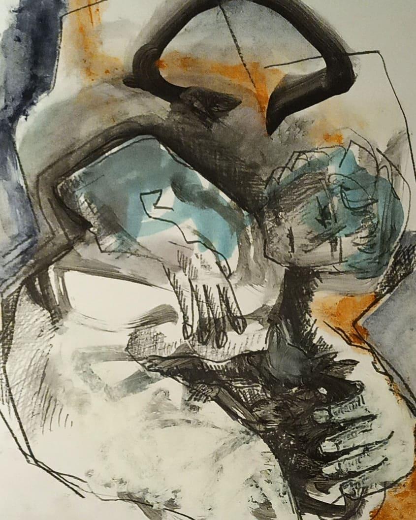 Nocturnale V - En cours - Gouache, huile, graphite et pastel gras sur papier - 30x21 cm -2020#lưuvăntâm  #dessincontemporain  #artcontemporain  #papier #oeuvresurpapier #contemporarydrawing  #contemporaryart  #workonpaper #artforsale