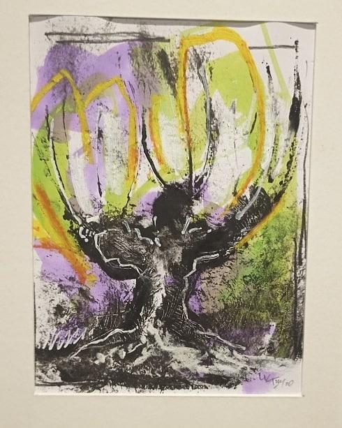 Trogne - Monotype, encres colorées , pastel gras et mine noire sur papier - 20x13 cm - 2020#lưuvăntâm  #dessincontemporain #monotype #artcontemporain  #papier #oeuvresurpapier #contemporarydrawing  #contemporaryart  #workonpaper #artforsale