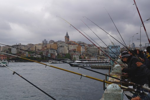 Fishing the Bosphorus, with the Galata Tower in the background