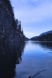 Lake Konigssee, surrounded by deer and mountain bike tracks