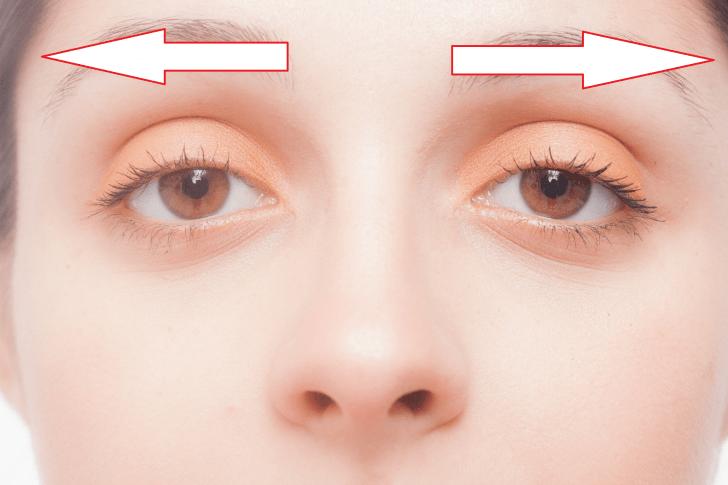 眉のマッサージの方向