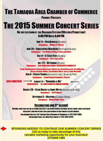 6-11, 6-25, 7-9, 7-23, 8-6, 8-13, 8-20, 9-3-2015, Summer Concert Series, Chamber of Commerce, Train Station, Tamaqua