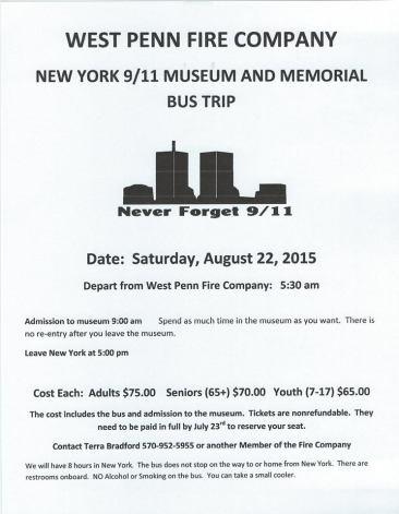 8-22-2015, Sept 11 Bus Trip to New York, benefits West Penn Fire Company, West Penn