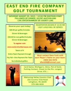 8-29-2015, East End Fire Company Golf Tournament, Mahoning Valley Country Club, Lehighton
