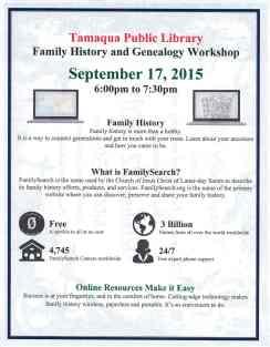 9-17-2015, Family History Workshop, Tamaqua Public Library, Tamaqua