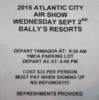 9-2-2015, Bus Trip to See Air Show in Atlantic City, via Tamaqua American Legion