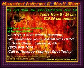 10-30, 31, 11-1-2015, Haunted Tours, Haunted House, No. 9 Mine and Museum, Lansford