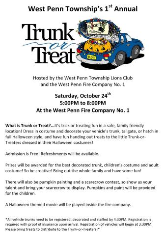 10-24-2015, West Penn Township s Trunk Or Treat, via WP Lions Club and Fire Company, at WP Fire Company, West Penn
