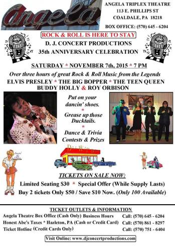 11-7-2015, 35th Anniversary Celebration, Rock and Roll Music from the Legends, Angela Triplex Theatre, Coaldale