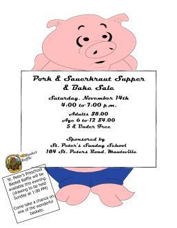 11-14-2015, Pork & Sauerkraut Supper and Bake Sale, St. Peter s Church, Mantzville
