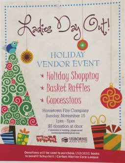 11-15-2015, Ladies Day Out Vendor Fair, benefits Toys For Tots, Hometown Fire Company, Hometown