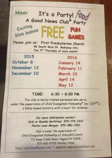 12-10, 1-14, 2-11, 3-10, 4-14, 5-12-2016, It's A Party Good News Club Party, First Presbyterian Church, Mahanoy City