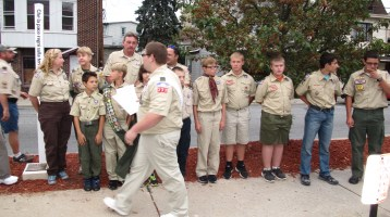 Peace Pole Dedication, Tamaqua Boy Scout, Train Station lot, Tamaqua, 9-21-2015 (11)