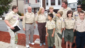 Peace Pole Dedication, Tamaqua Boy Scout, Train Station lot, Tamaqua, 9-21-2015 (12)