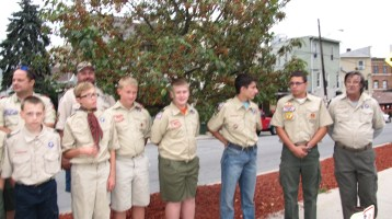 Peace Pole Dedication, Tamaqua Boy Scout, Train Station lot, Tamaqua, 9-21-2015 (13)