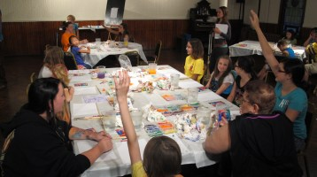Stephen Bennett, Kids Portrait Painting Workshop, Community Arts Center, Tamaqua, 9-29-2015 (1)
