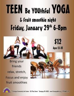1-29-2016, Teen Be Youthful Yoga, Ages 13 to 18, Tamaqua Community Arts Center, Tamaqua
