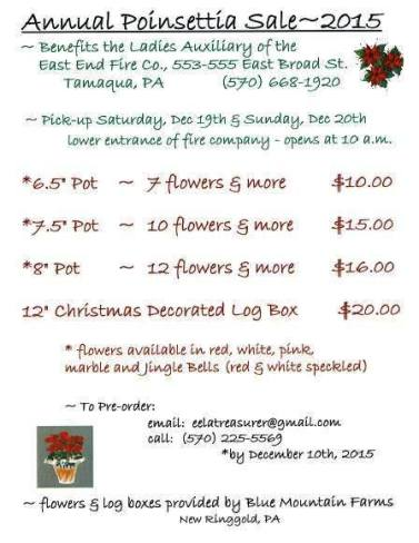 East End Fire Company Poinsettia Sale, Winter 2015