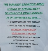 Tamaqua Salvation Army Modified Winter Hours 2015