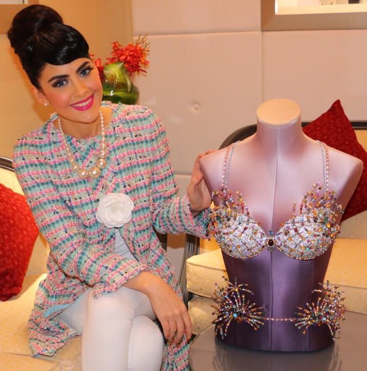 Tamara Al Gabbani wearing Weill with the Mouwad & Victoria's Secret Firework Fantasy Bra 2015 - in the Mouwad Store Dubai Mall