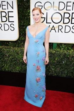 Jessica Chastain in Prada Golden Globes 2017