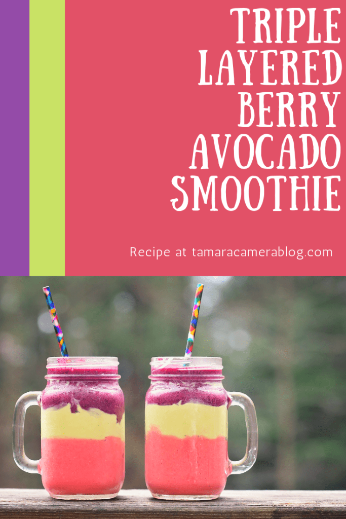 Make this unique, refreshing Triple Layered Berry Avocado Smoothie using 1 scoop of Earth Genius Superfoods Supreme Berry or Vanilla Chai #ad #MyEarthGenius