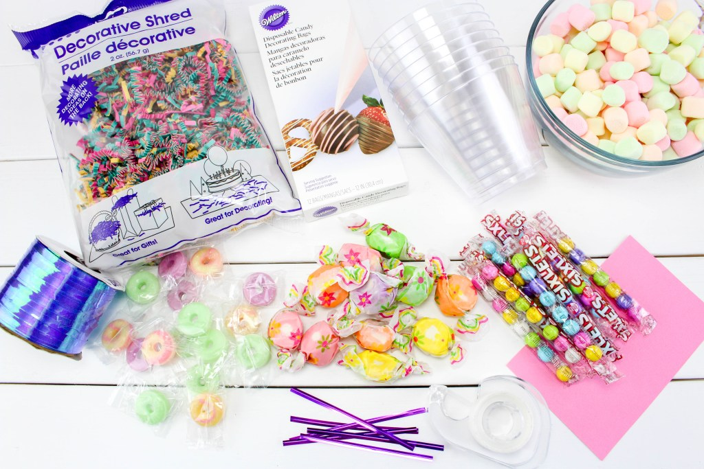 what you need for unicorn party candy cups