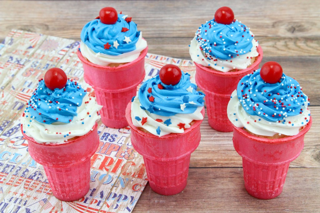 My Patriotic Ice Cream Cone Cupcakes are perfect and festive to kick off summer or celebrate anything red, white and blue. Enjoy them for all summer events!