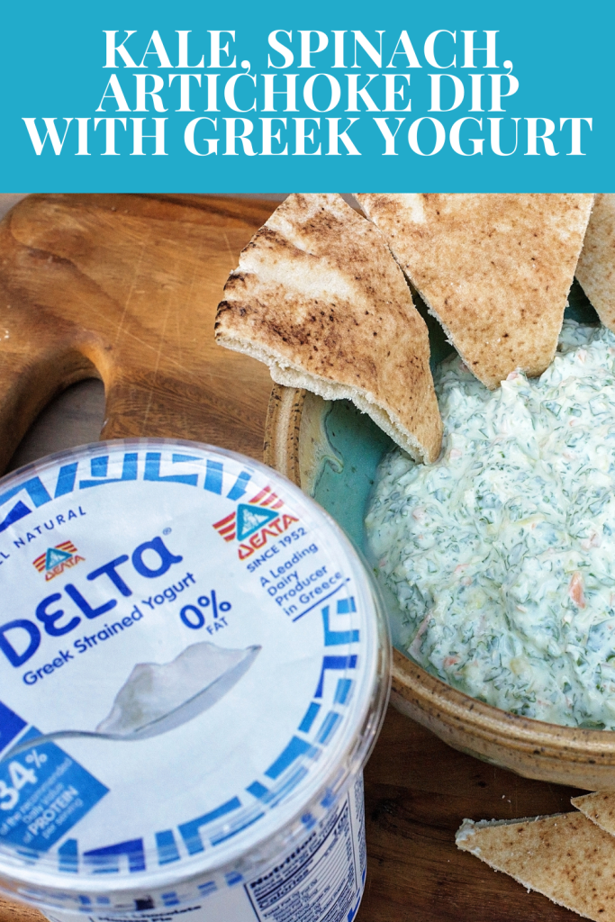 #AD Kale, Spinach and Artichoke Dip is made with Delta® Greek Yogurt and is a unique way to use and enjoy Greek Yogurt with your party recipes
